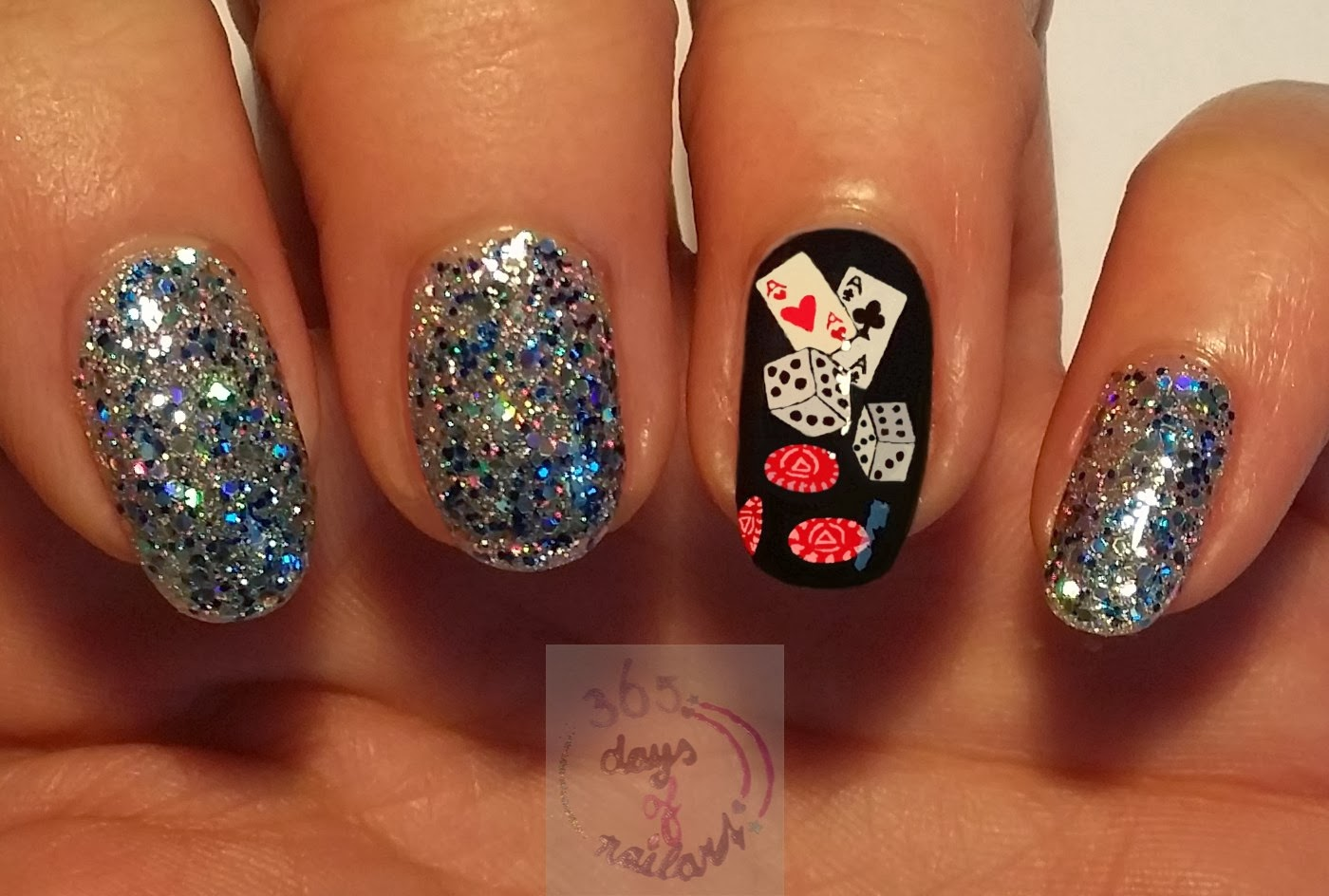 365+ days of nail art: Day 284) Viva Las Vegas nail art