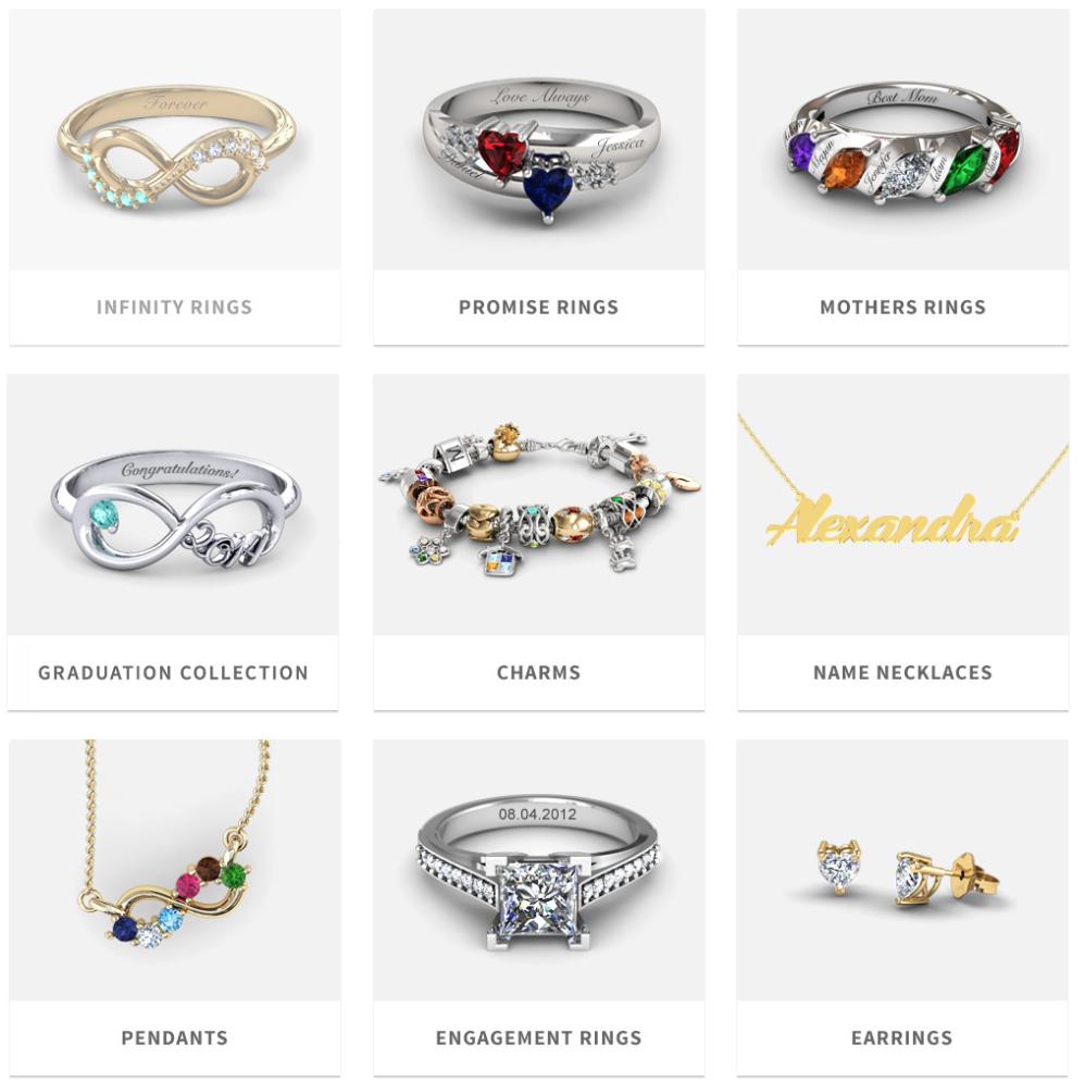 Jewlr's range of jewellery