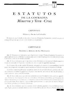 1927. Primer capítulo e inicio del segudo de los estatutos de la Cofradía Minerva y Vera Cruz. Los actuales en el 2012.