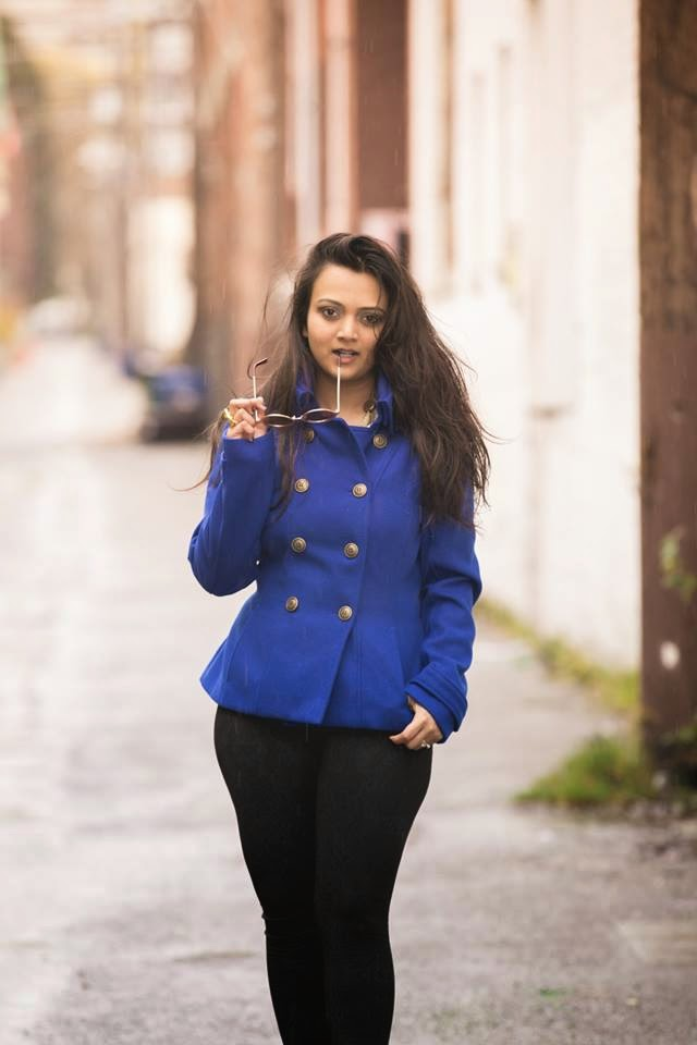 winter coats, blue sexy jacket, blue double breasted coat, ananya kiran, winter fashion, indian fashion blogger, beautiful indian girl