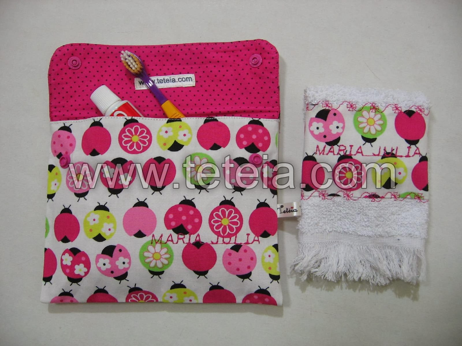 Tetéia Patchwork: Kit de higiene bucal infantil joaninhas/rosa cód  #B2194C 1600x1200