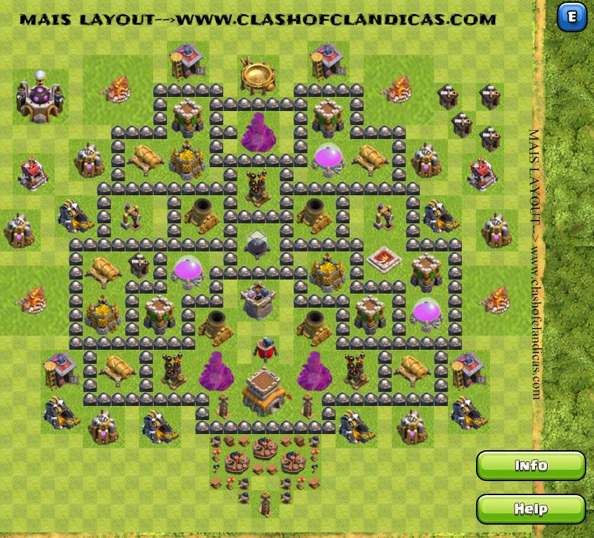 layout centro de vila 8 fram defesa invicta clash of clans dicas
