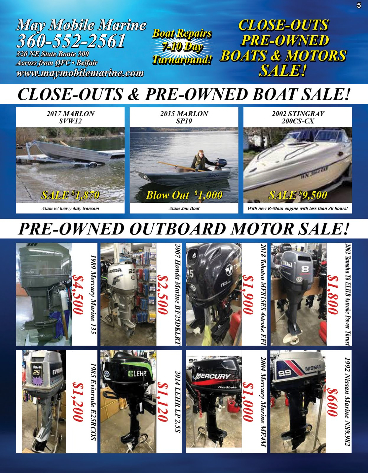May Mobile Marine Pre-Owned Boats & Outboard Motor Sale!!