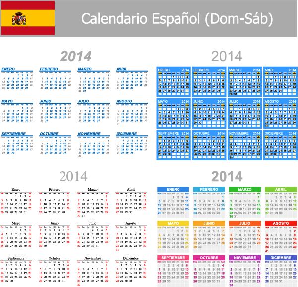 4 calendarios 2014 español vector