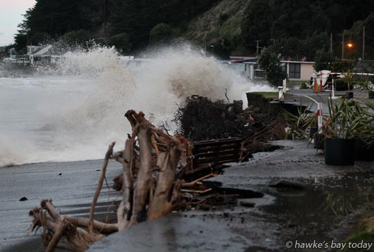 Residents and campers were evacuated from Clifton Beach Reserve Motor Camp, Clifton, Hawke's Bay, after big sea swells undercut the road at the camp's entrance. Police and Hastings District Council Emergency Management oversaw the evacuation. Managers Robert Pollock and Kathryn Pollock were the last to leave photograph