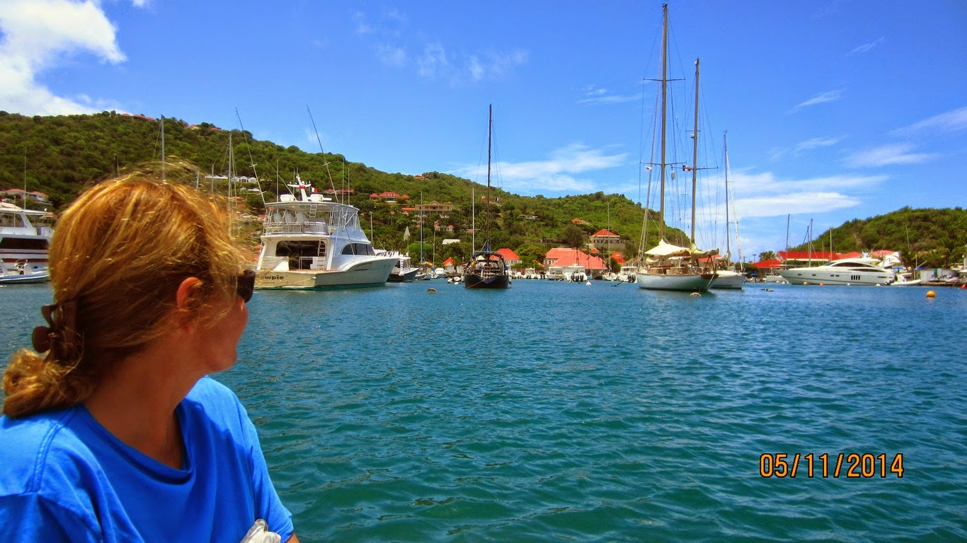 Wereda securely tucked-in in Gustavia Harbor