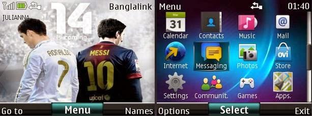Tema nokia c3, x2, asha 305 - Ronaldo VS Messi