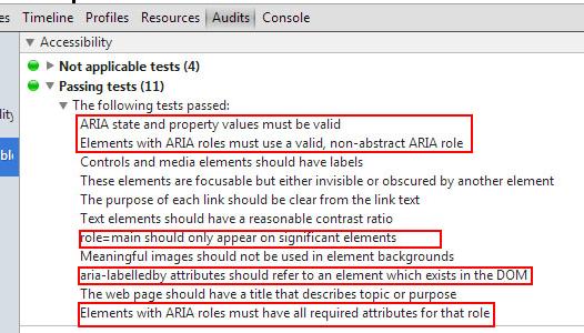 Test sobre el correcto uso de WAI-ARIA en una página con la extensión de Chrome con la extensión Accessibility Tools
