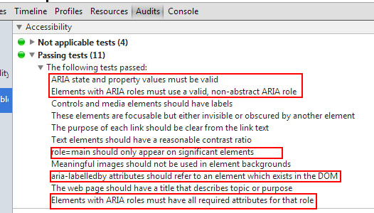 Test sobre el correcto uso de WAI-ARIA en una p�gina con la extensi�n de Chrome con la extensi�n Accessibility Tools