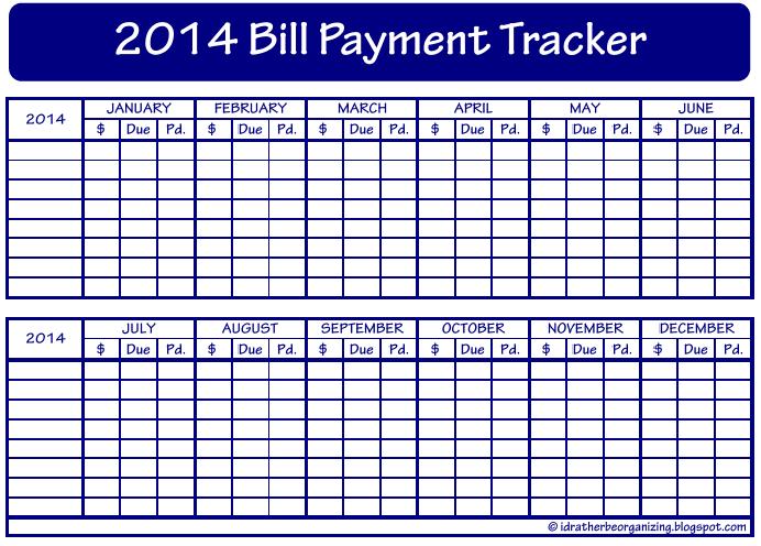 Free Printable Bills Tracker