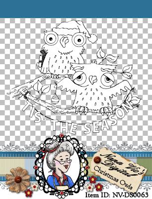 Christmas Owls Digital Stamp