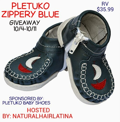 naturalhairlatina, WWW.naturalhairlatina.blogspot.com, baby shoes giveaway, pletuko zippery blue baby shoes giveaway