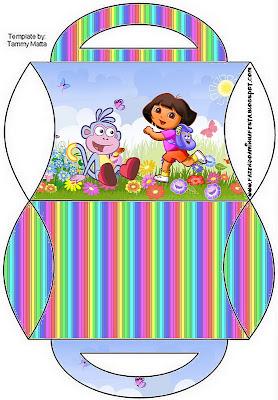 Cajita almohada con asa de Dora la Exploradora para imprimir gratis