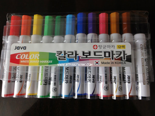 rainbow colored white board markers