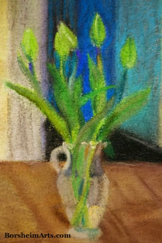 Green Tulips Detail of Pastel Painting art vase of flowers