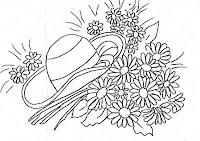 """""""risco pintura em tecido, flores, margaridas e chapeu"""""""
