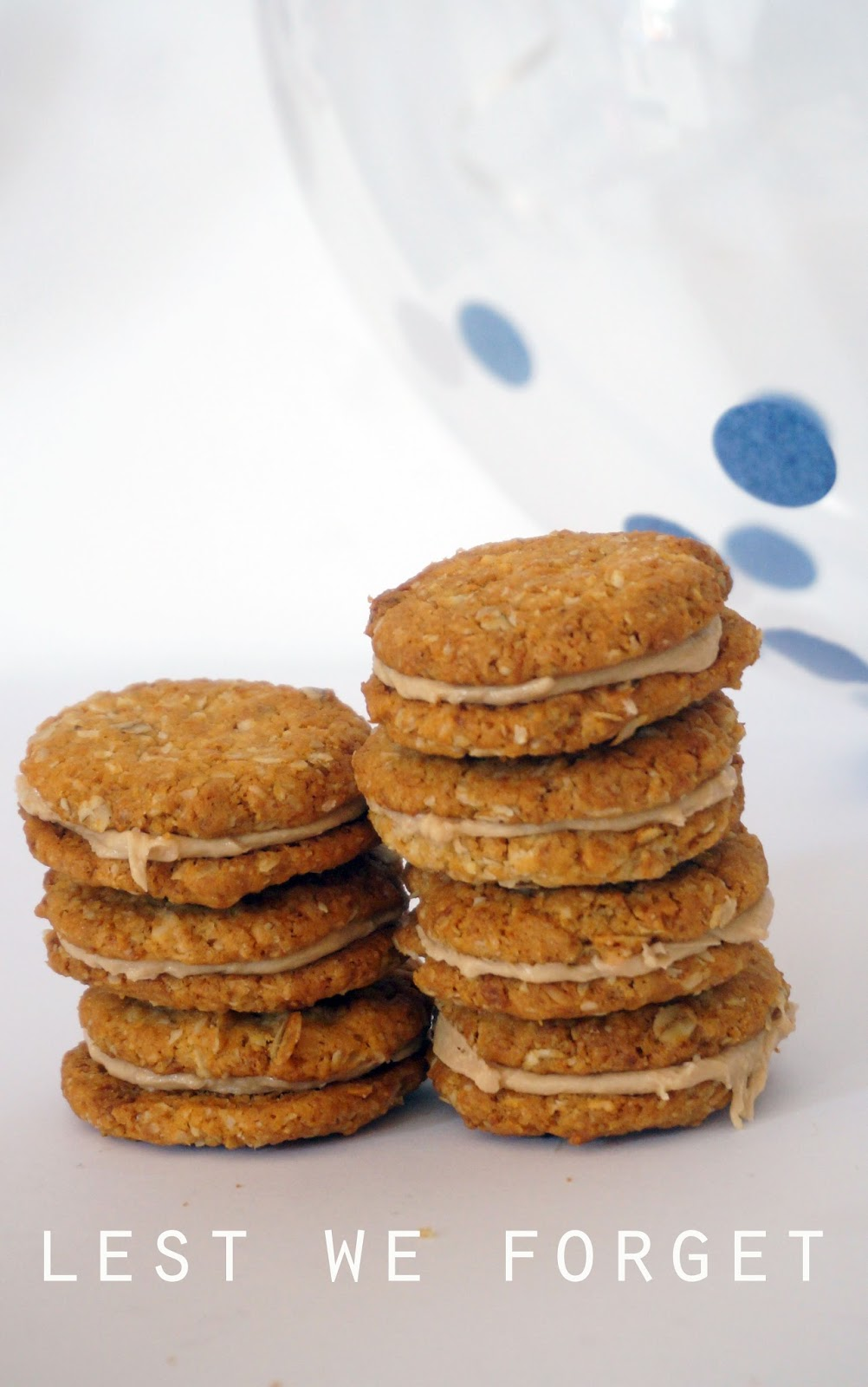 meg-made ANZAC Biscuits with caramel ganache