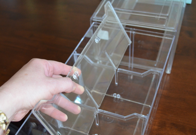 acrylic athletic shoe drawer with dividers