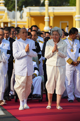 King Sihamoni and Queen Mother Monineath, Funeral of Sihanouk, Phnom Penh, Cambodia