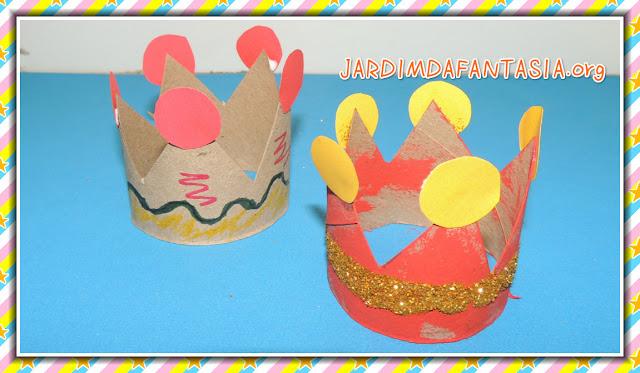 Artesanato para Criança Coroa de Rolo de Papel Higiênico