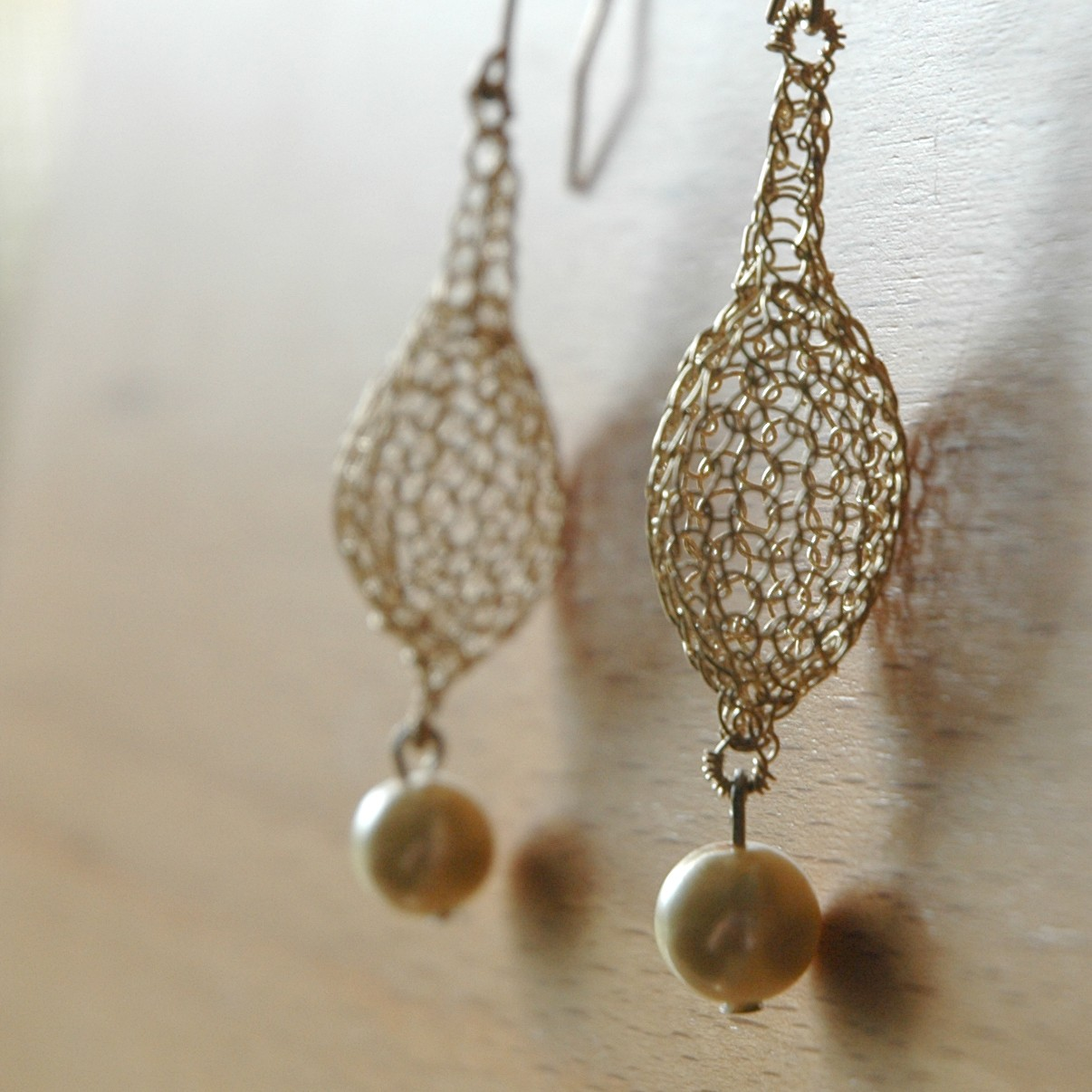 Crochet Earrings : ... Jewelry: YooLaGoldenDrop Earrings, Crocheted Wire Jewelry Tutorial