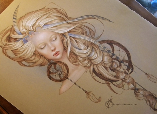 20-Dream Catcher-Jennifer-Healy-Traditional-Art-Color-Pencil-Drawings-www-designstack-co