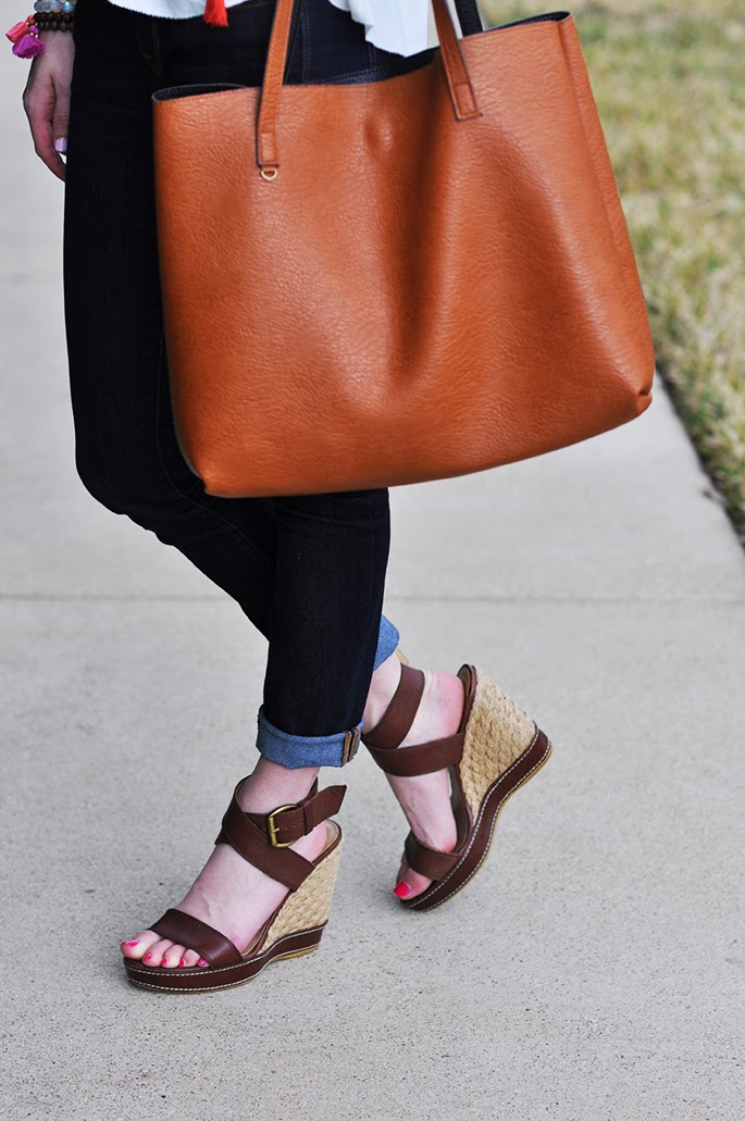 Street Level brown leather tote