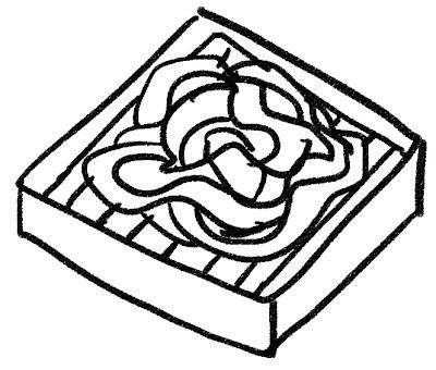 ざる蕎麦のイラスト モノクロ線画
