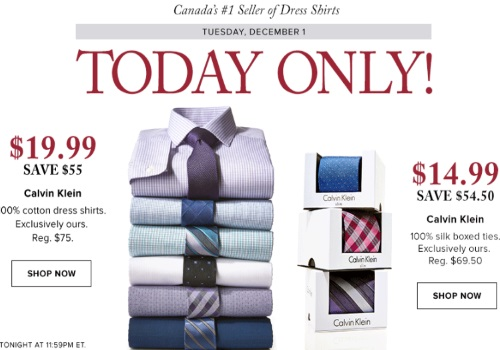 Hudson's Bay One Day Deal Calvin Klein Shirts & Ties