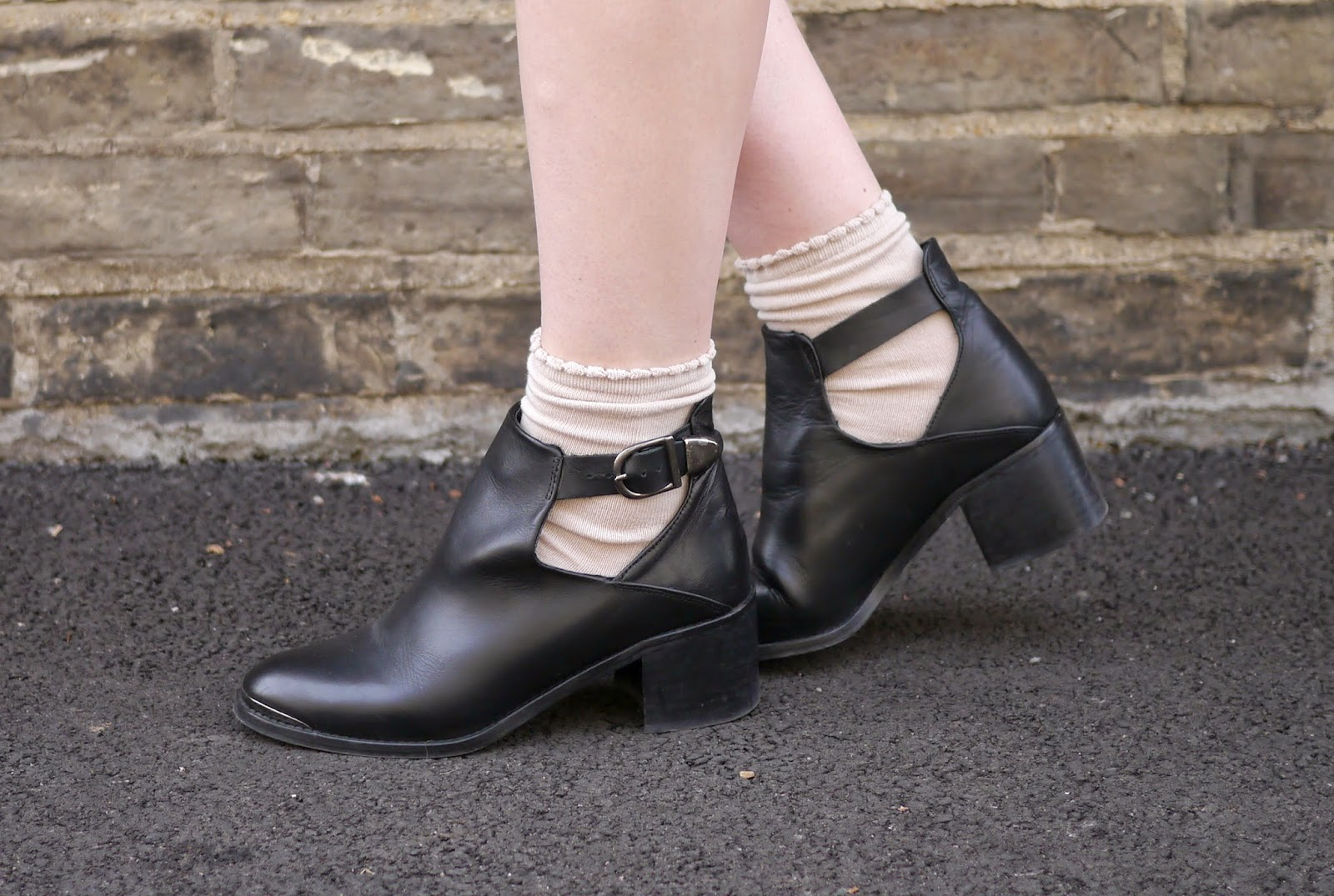 Topshop Cut Out Buckle Ankle Boots with socks
