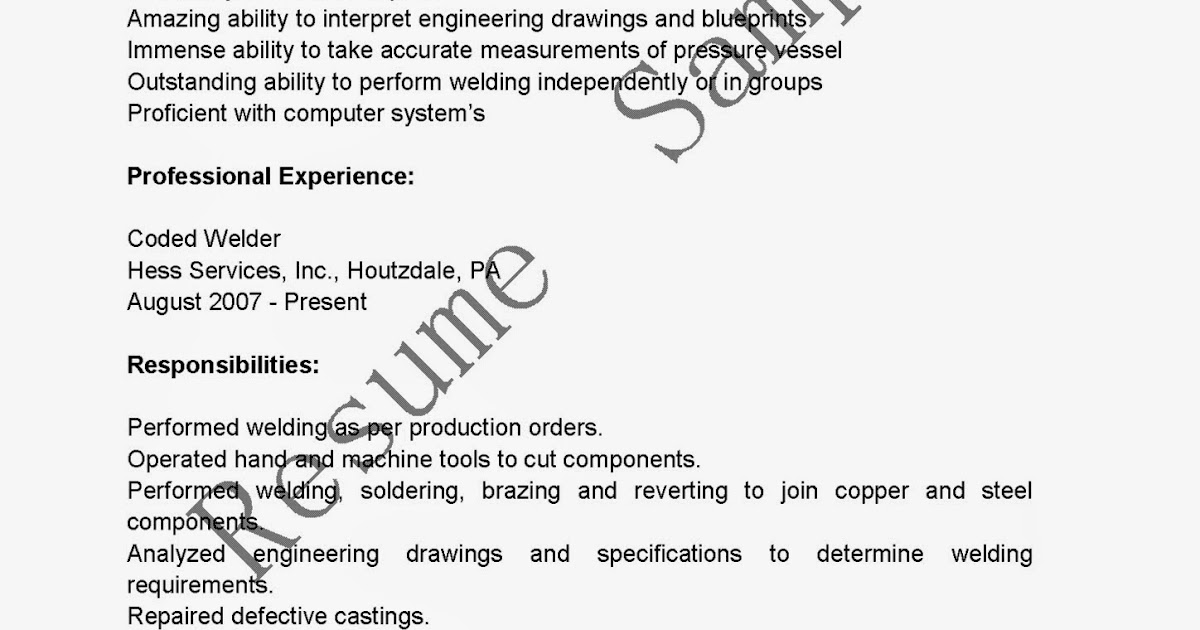resume samples  coded welder resume sample
