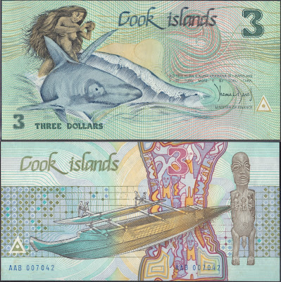 Isole Cook 3 Dollars 1987 P# 3a