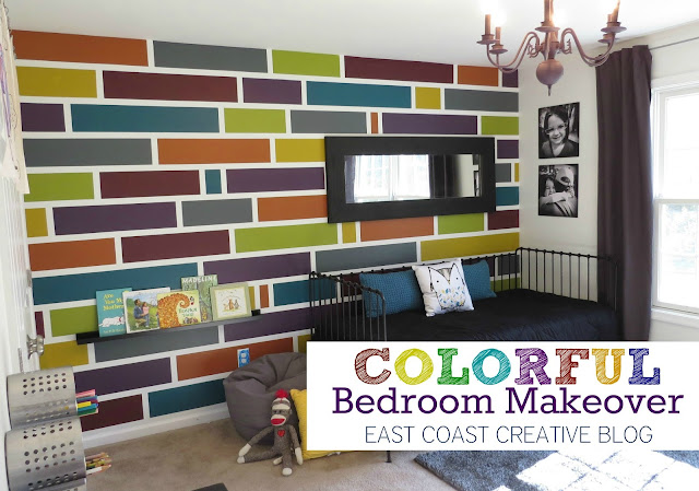 how to paint a mosaic accent wall {bedroom makeover} - east coast