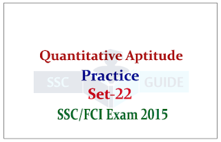 Quantitative Aptitude Previous year Questions for SSC CGL Mains / FCI Exams