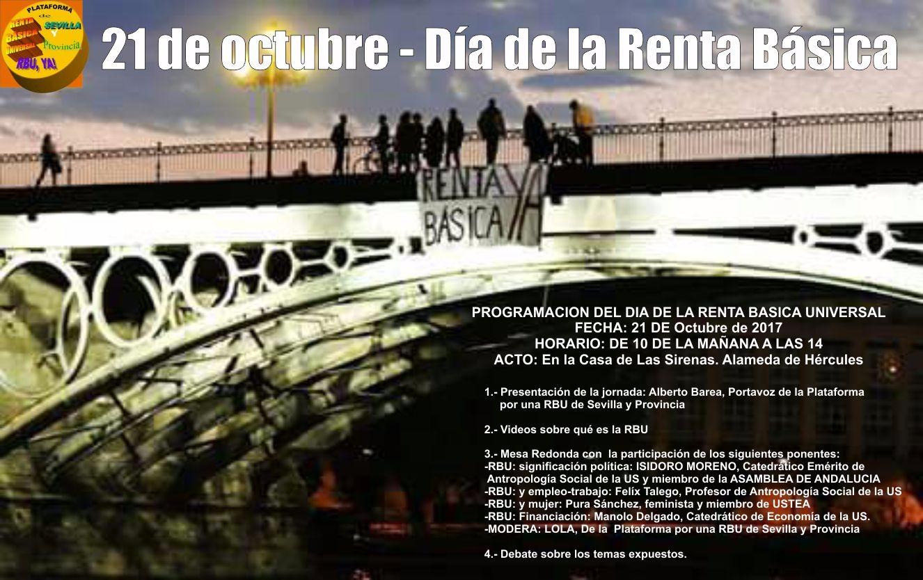 JORNADA SOBRE LA RENTA BÁSICA UNIVERSAL. Sevilla, sábado 21 Octubre, de 10 a 14H.