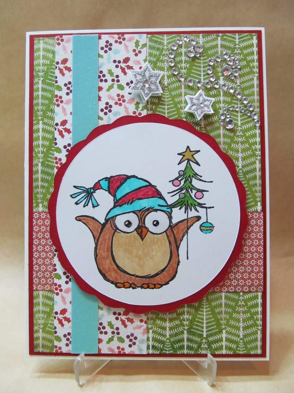 Savvy Handmade Cards: Owl with Tree Christmas Card