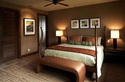 Kamar Tidur dengan warna cat nuansa coklat