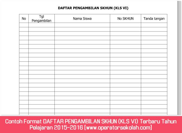 Contoh Format DAFTAR PENGAMBILAN SKHUN (KLS VI) Terbaru Tahun Pelajaran 2015-2016 [www.operatorsekolah.com]