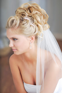 wedding updos with blusher veil