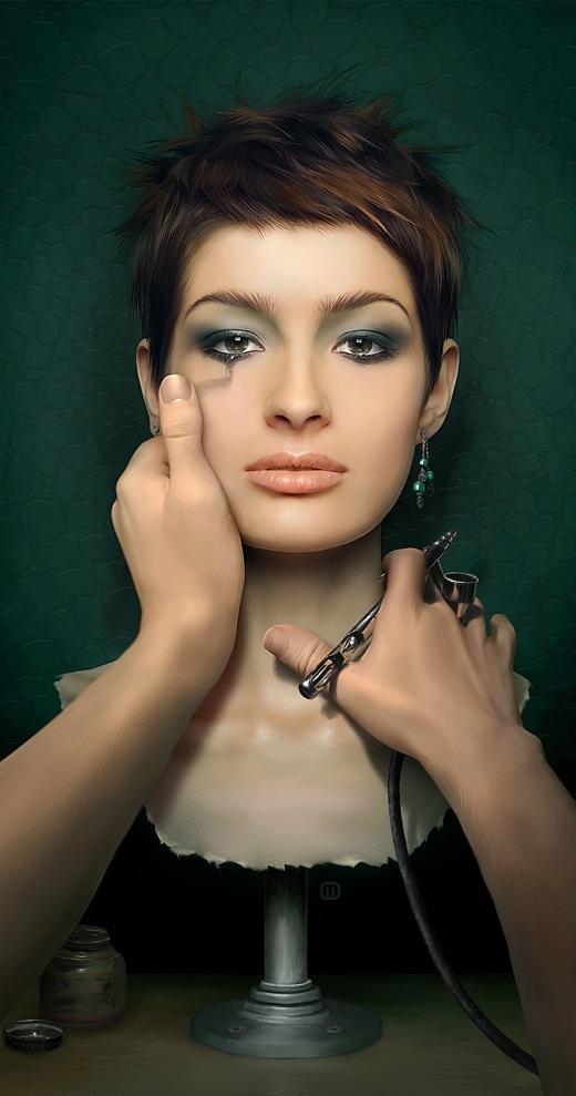 masks, digital art girl,micheal oswald