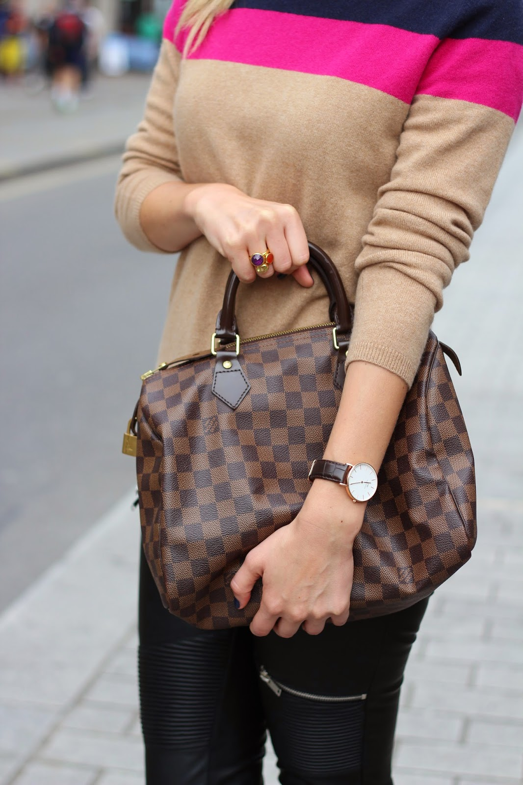 Monica vinader rings, monica vinader stack rings, daniel wellington, london blogger, watch with leather strap