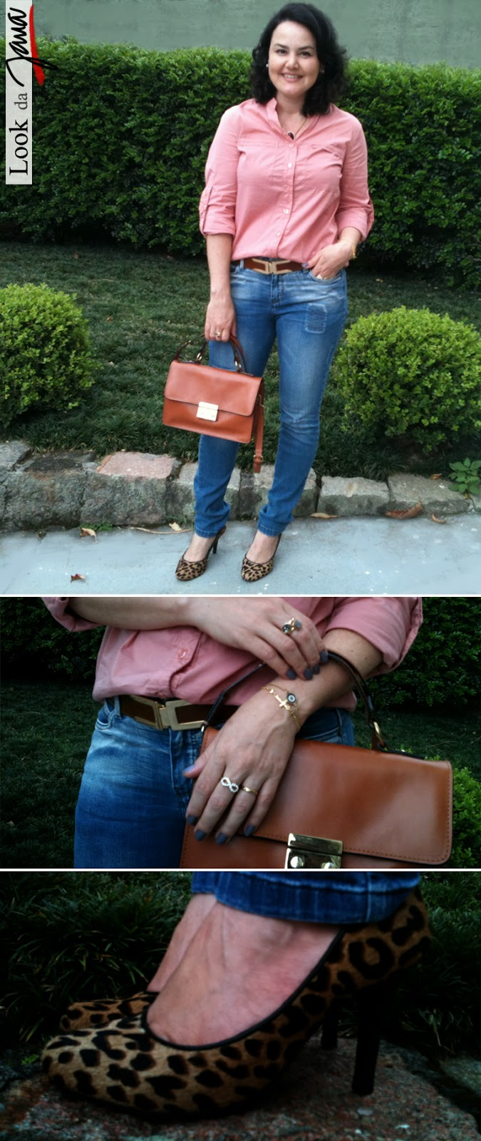 Look, blogueira, Joinville, onça, calça jeans, camisa, Jana Acessórios