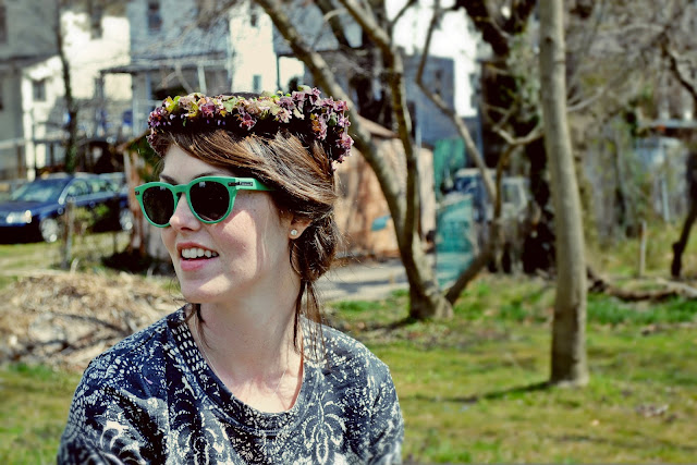 floral garland, wreath, crown, spring, field, in style, fashion, sunglasses