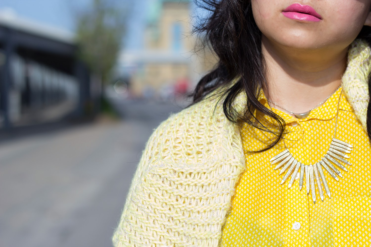 Forever-21-Pullover-Sweater, Club-Monaco-Yellow-Shirt, BCBGernation-statement-necklace