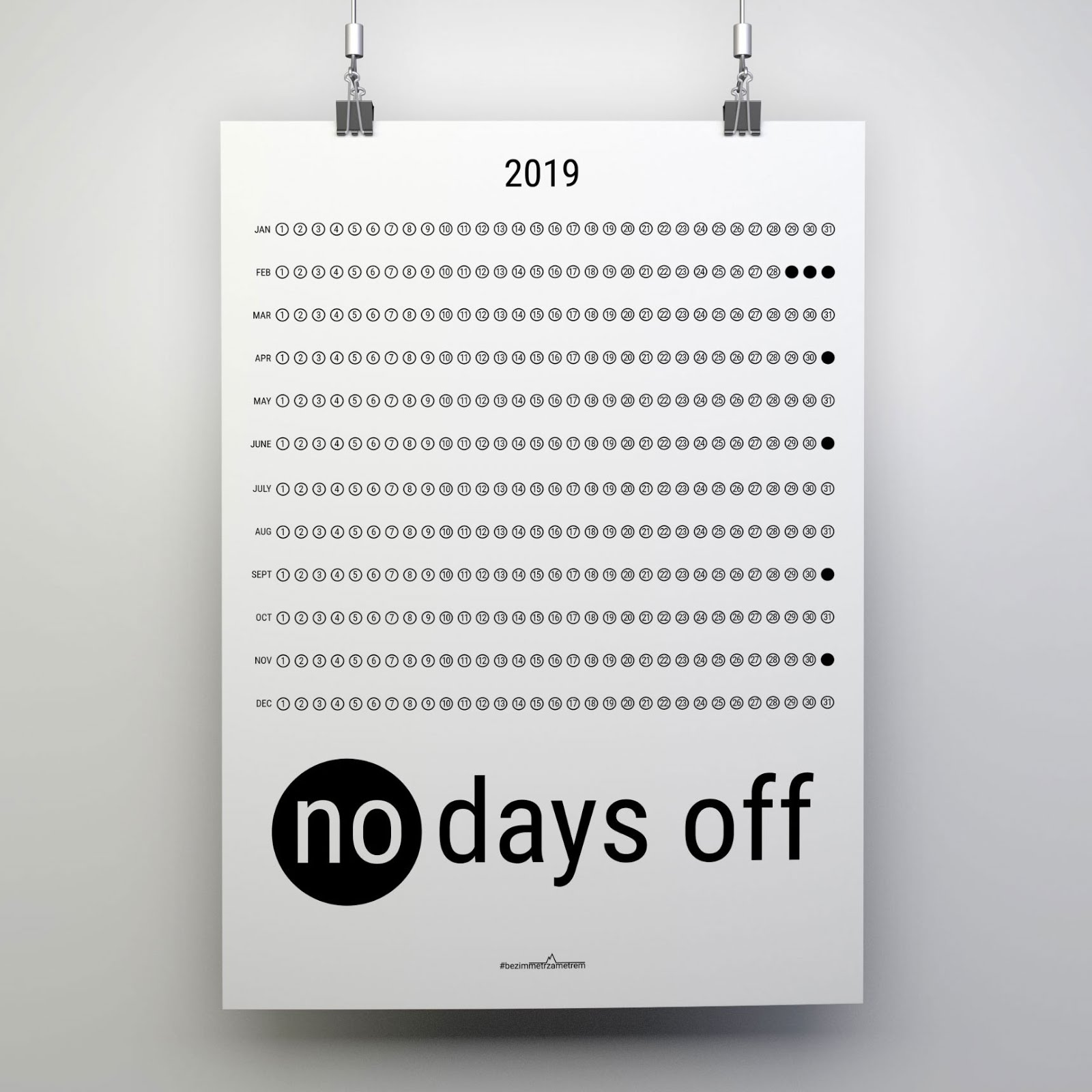 no days off calendar 2019