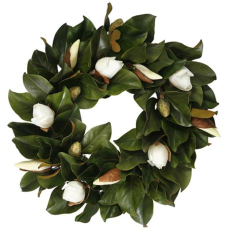 24 white faux tulip magnolia bud wreath - Magnolia Christmas Decor
