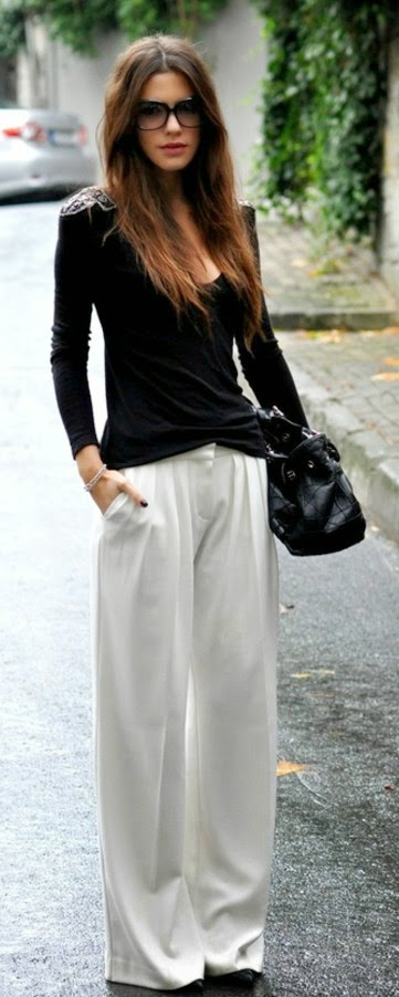 White Palazzo Pant with Black Long Sleeve Blouse | Spring Street Outfits