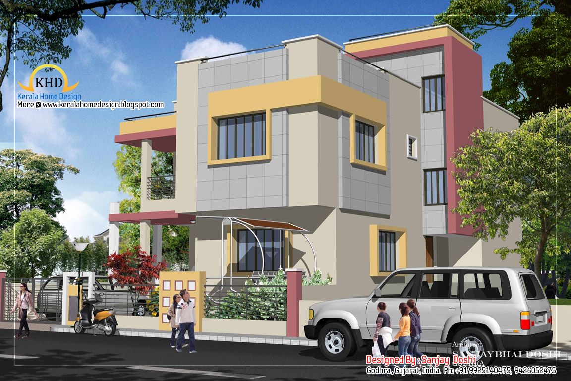 Duplex house plan and elevation 2310 sq ft home for Duplex images india