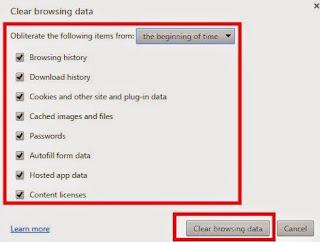 gambar cara hapus Riwayat, cache Browser