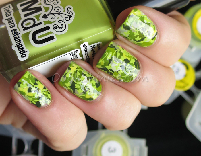Basecoat with acrylic paint stamped with Mundo de Uñas Lime and Born Pretty Store plate QA27
